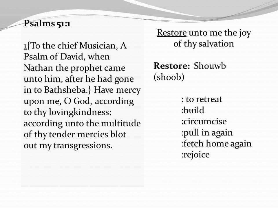 Restore unto me the joy of thy salvation