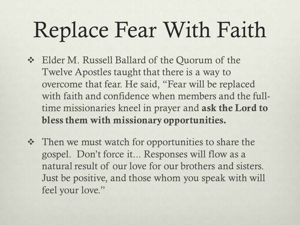 Replace Fear With Faith