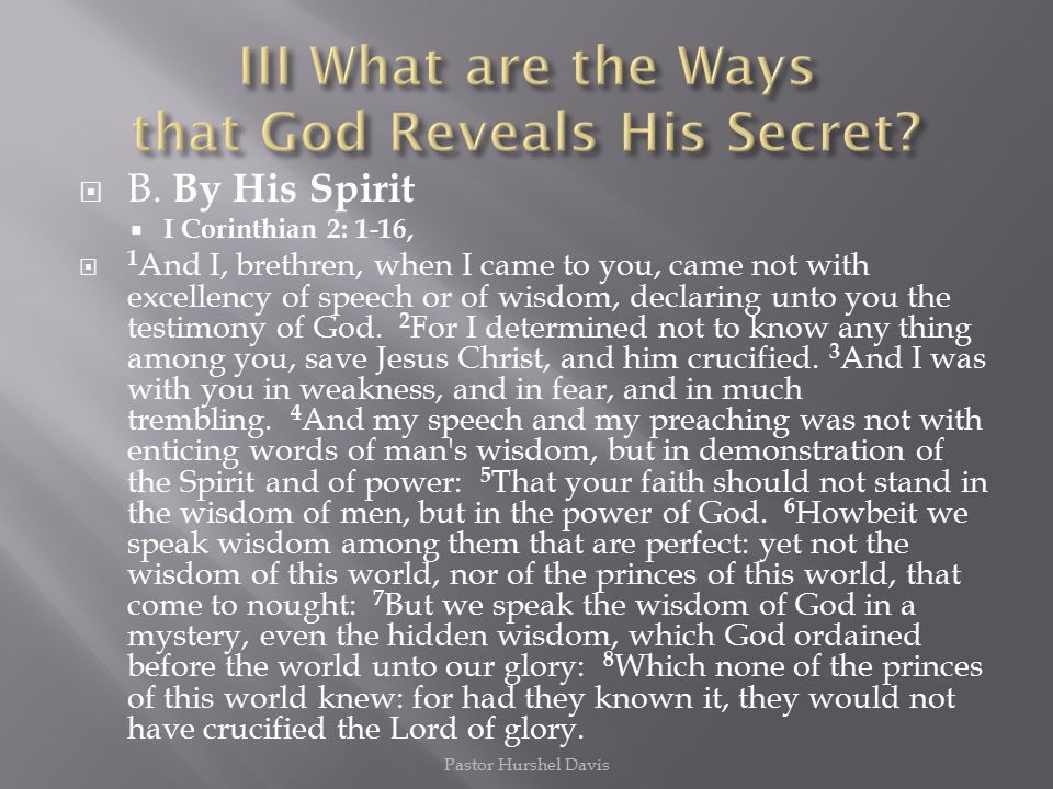 III What are the Ways that God Reveals His Secret