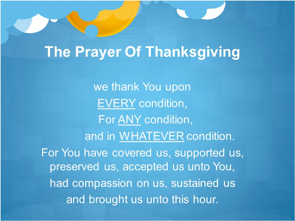 The Prayer Of Thanksgiving