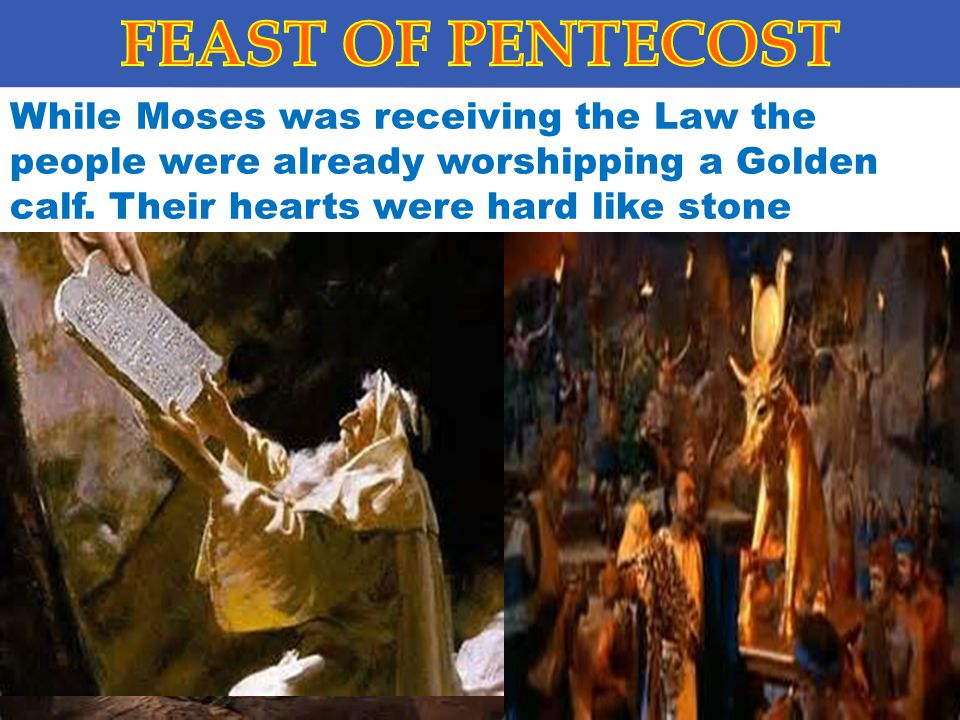 FEAST OF PENTECOST While Moses was receiving the Law the people were already worshipping a Golden calf.