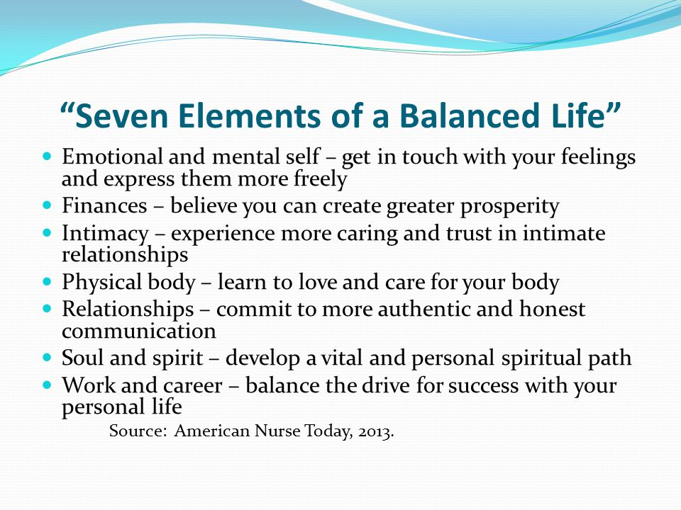Seven Elements of a Balanced Life