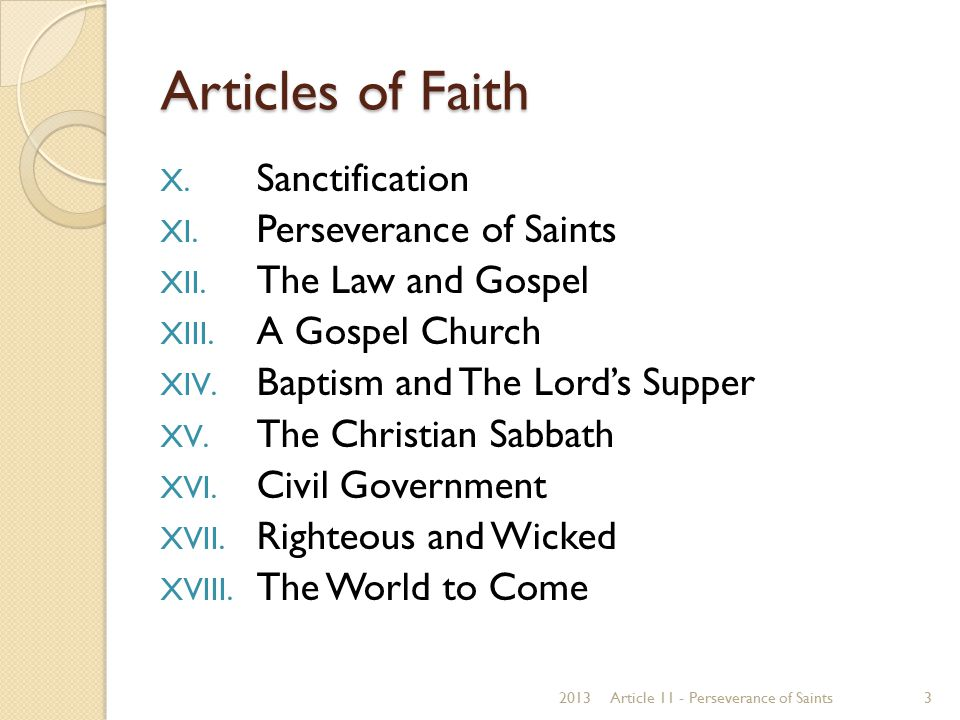 Articles of Faith Sanctification Perseverance of Saints