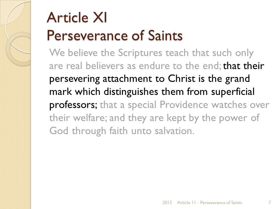 Article XI Perseverance of Saints