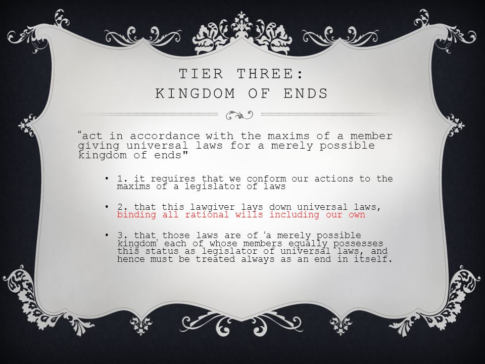 tier three: kingdom of ends