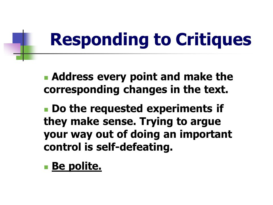 Responding to Critiques