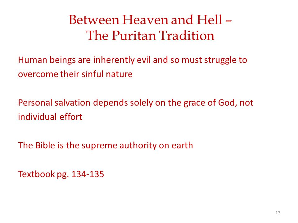 Between Heaven and Hell – The Puritan Tradition