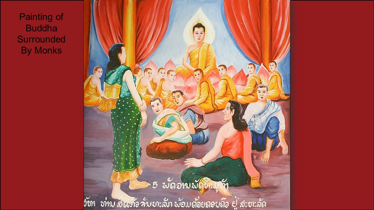 Painting of Buddha Surrounded By Monks