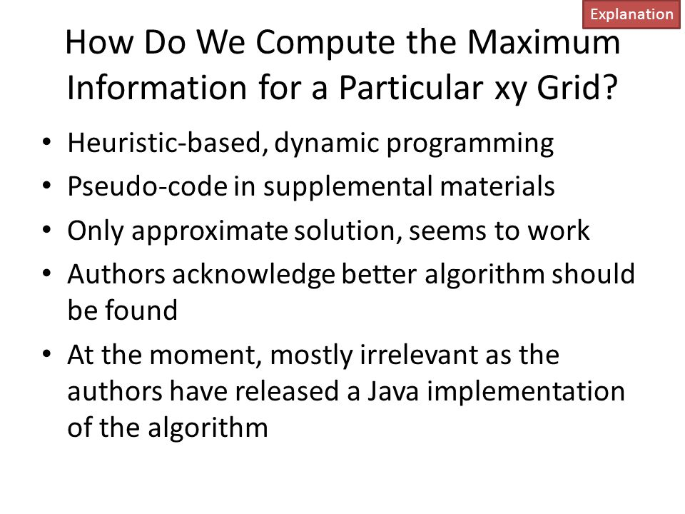 How Do We Compute the Maximum Information for a Particular xy Grid