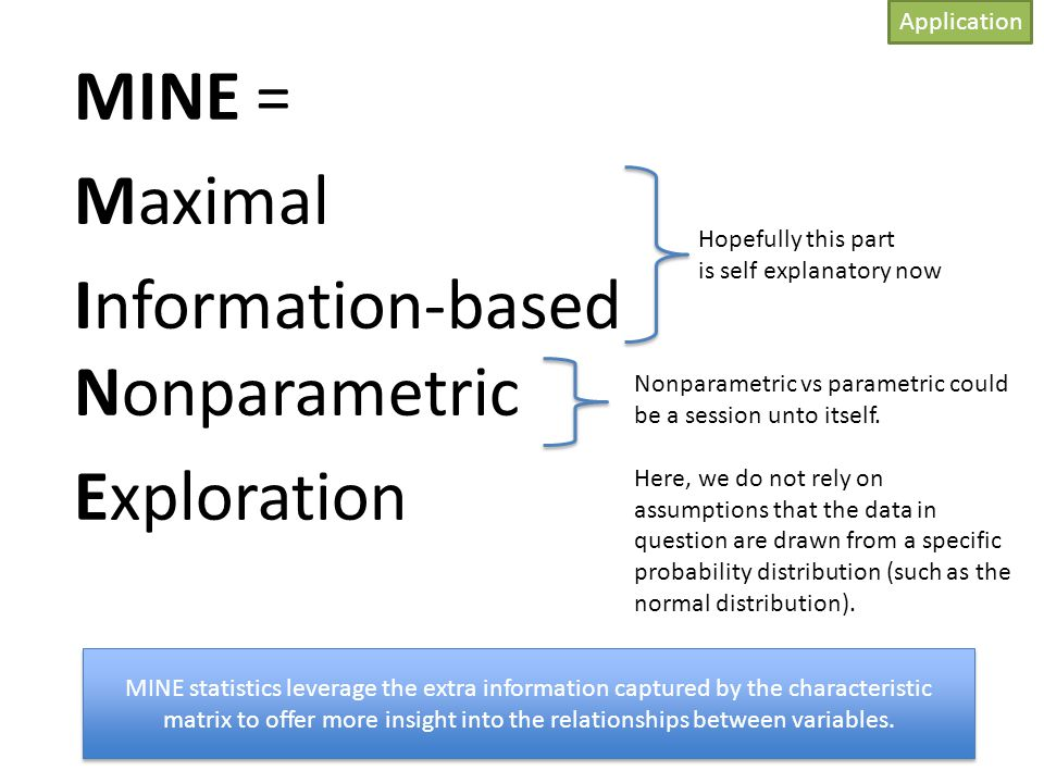 MINE = Maximal Information-based Nonparametric Exploration