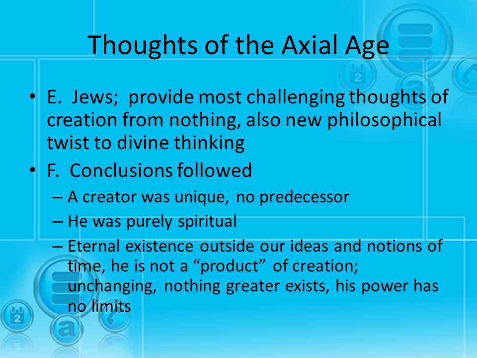 Thoughts of the Axial Age