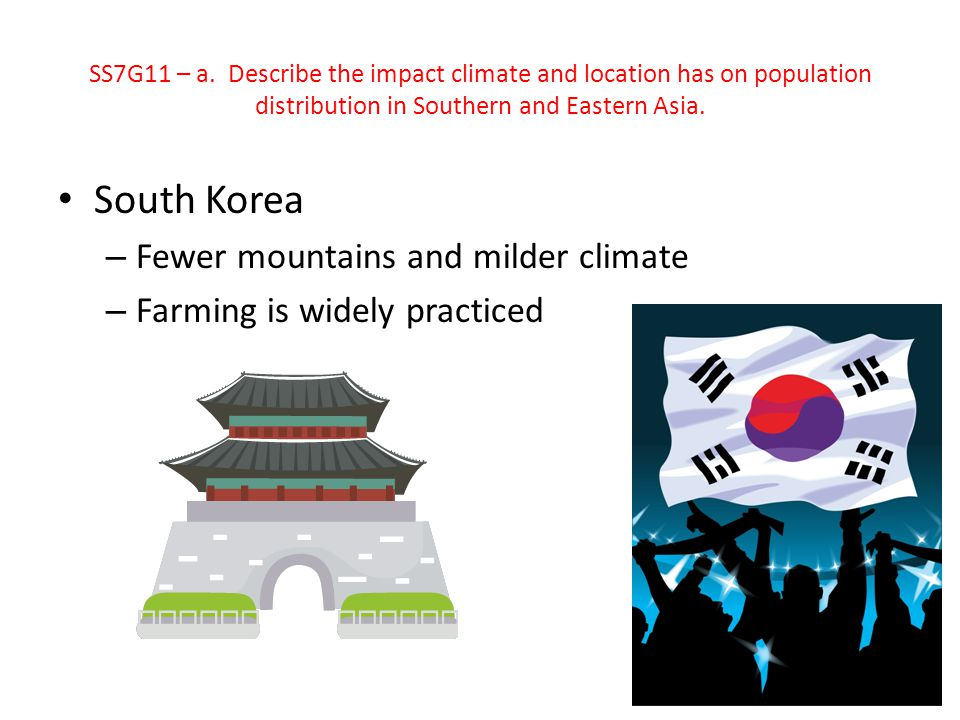 South Korea Fewer mountains and milder climate