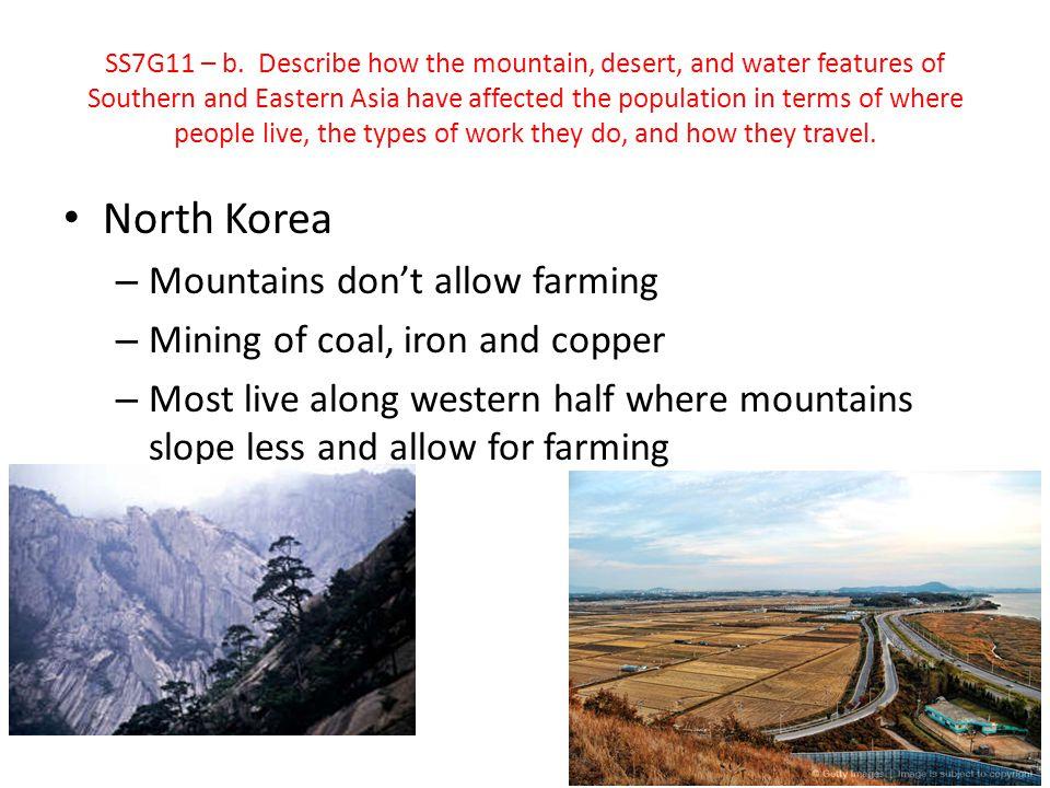 North Korea Mountains don't allow farming