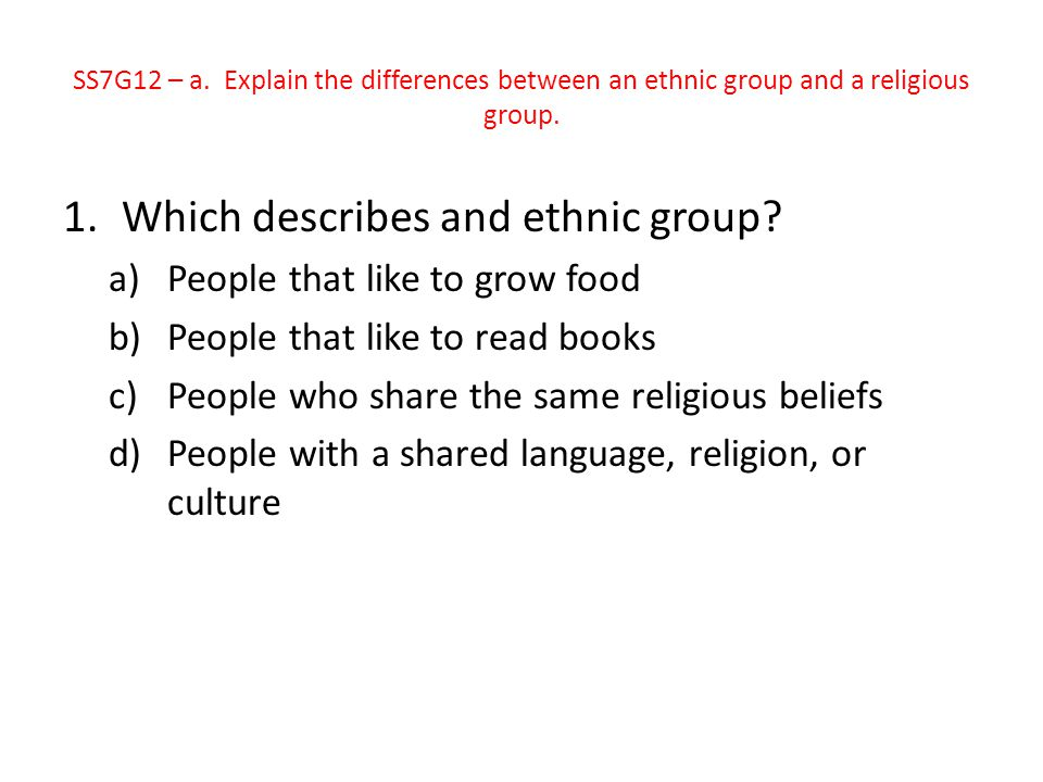 Which describes and ethnic group