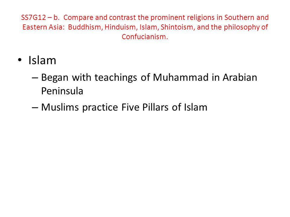 Islam Began with teachings of Muhammad in Arabian Peninsula