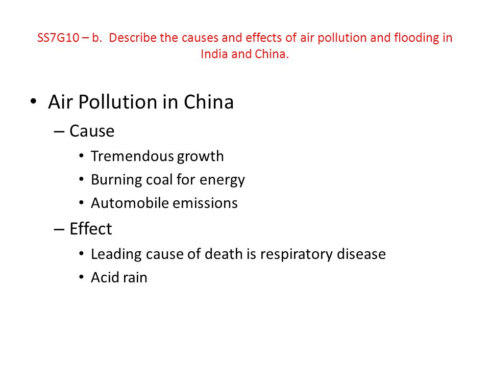 Air Pollution in China Cause Effect Tremendous growth