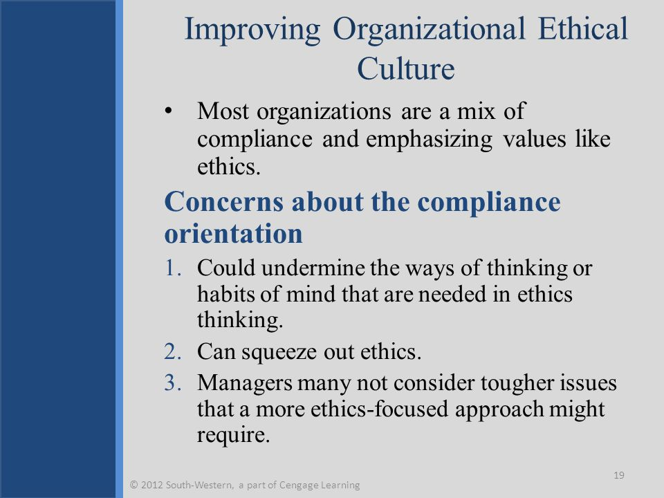 Improving Organizational Ethical Culture