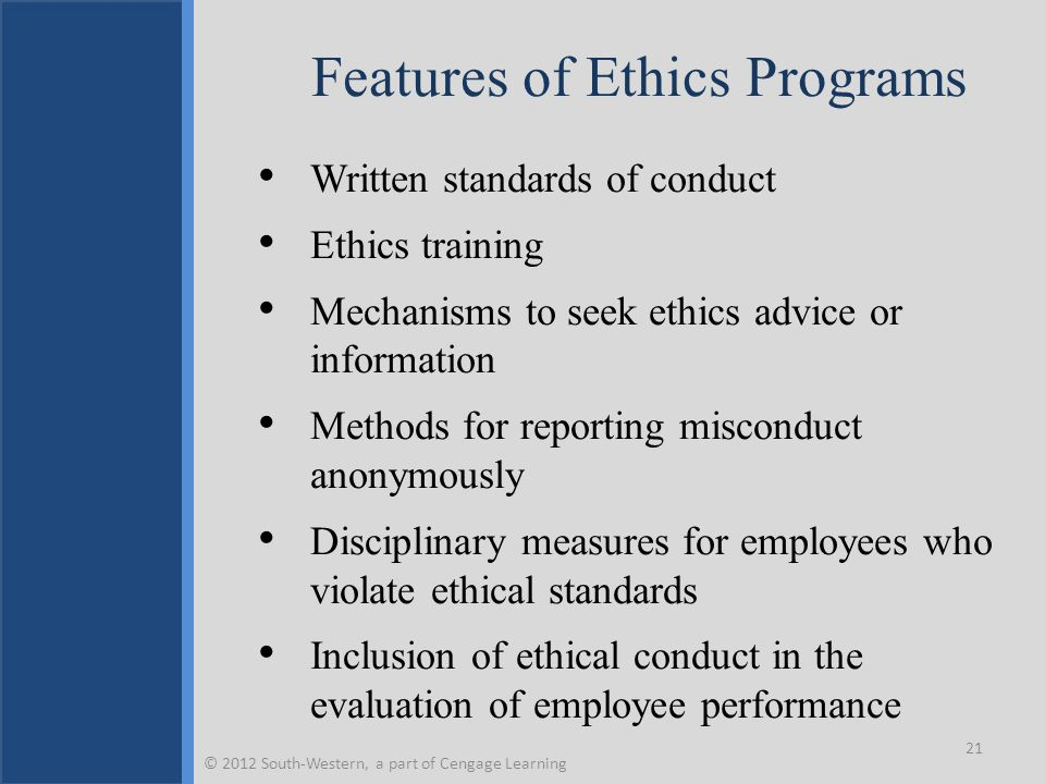Features of Ethics Programs