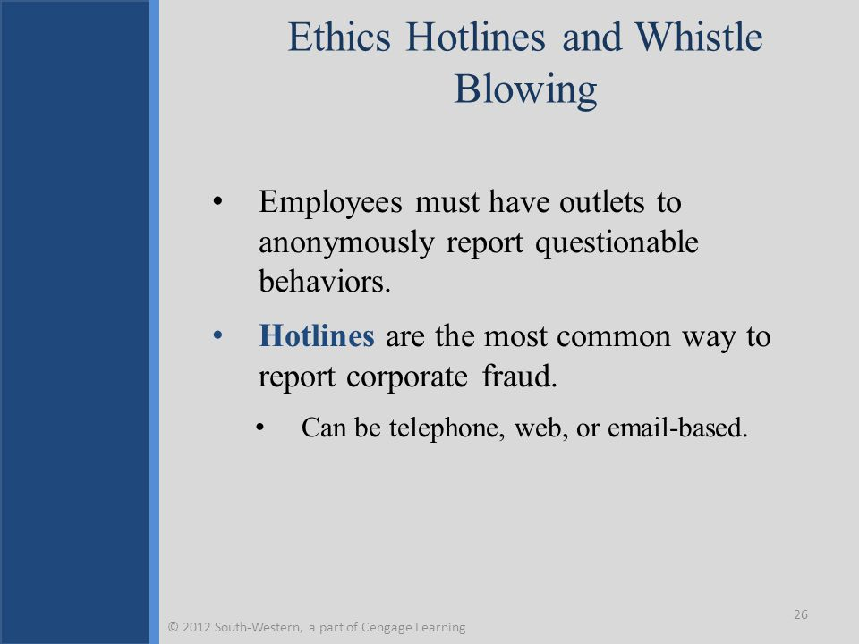 Ethics Hotlines and Whistle Blowing