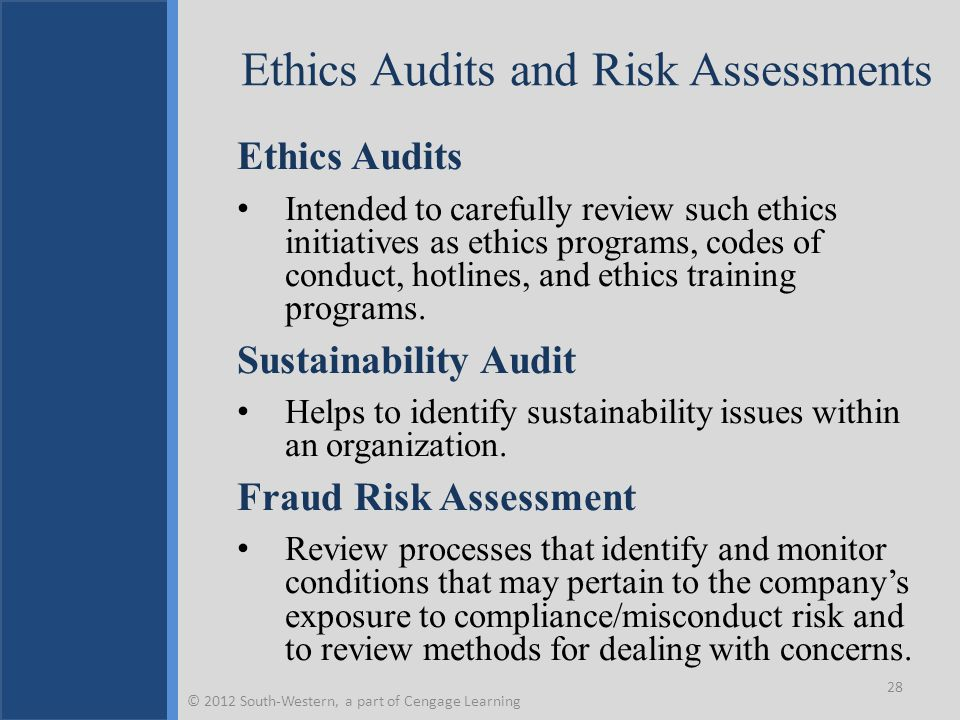 Ethics Audits and Risk Assessments