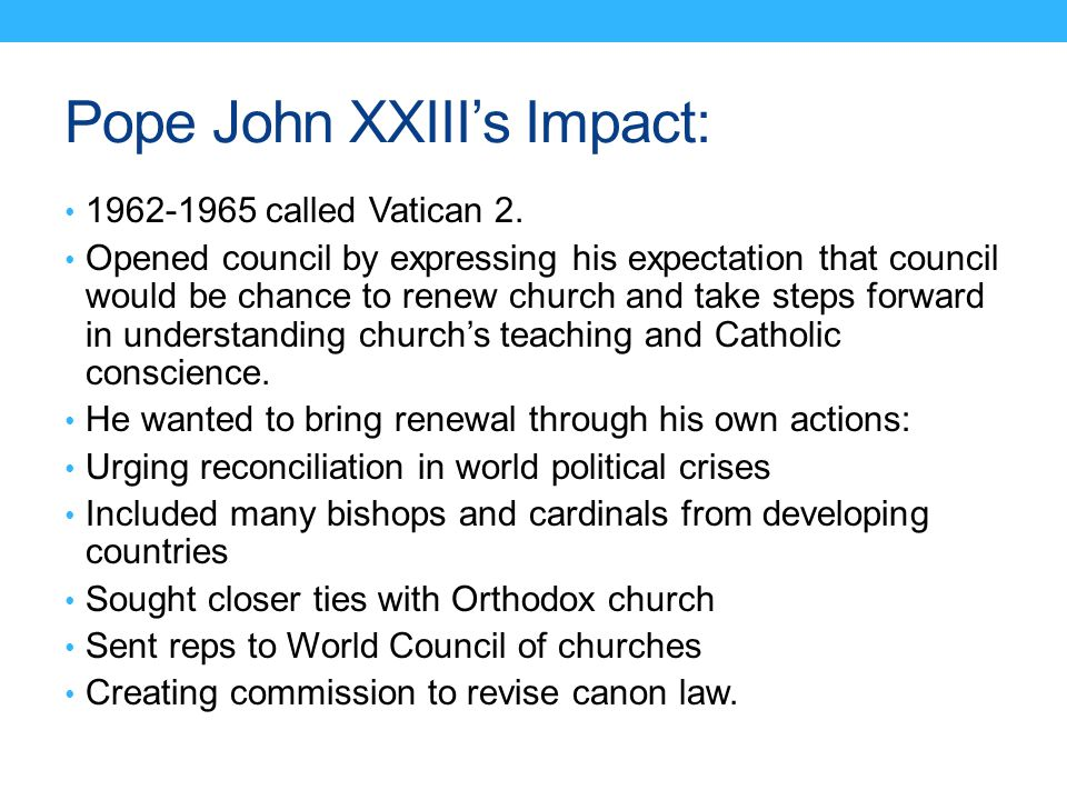 Pope John XXIII's Impact: