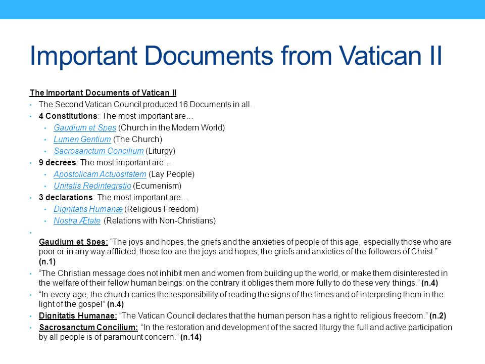 Important Documents from Vatican II