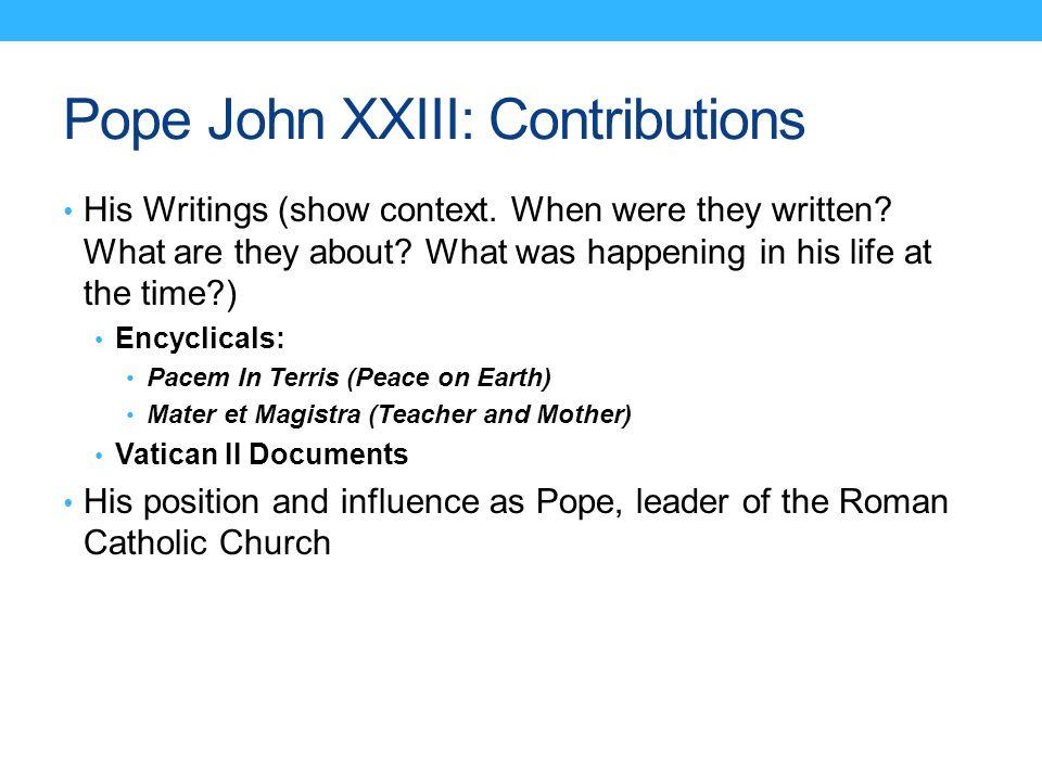 Pope John XXIII: Contributions