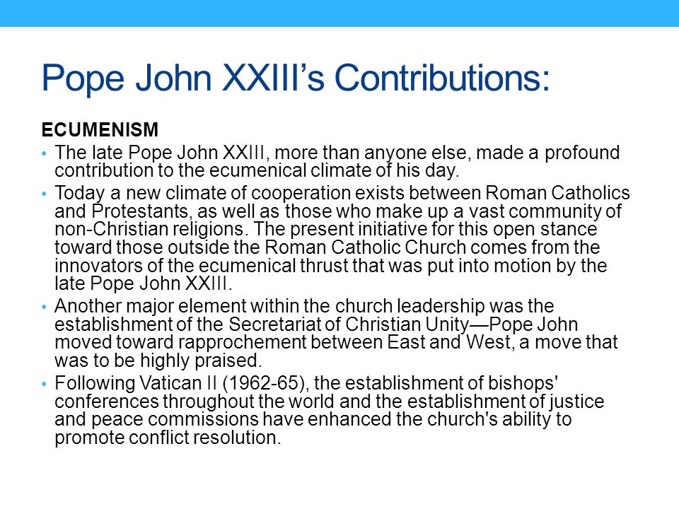 Pope John XXIII's Contributions: