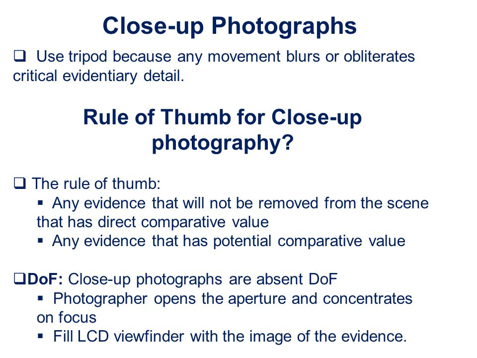 Rule of Thumb for Close-up photography