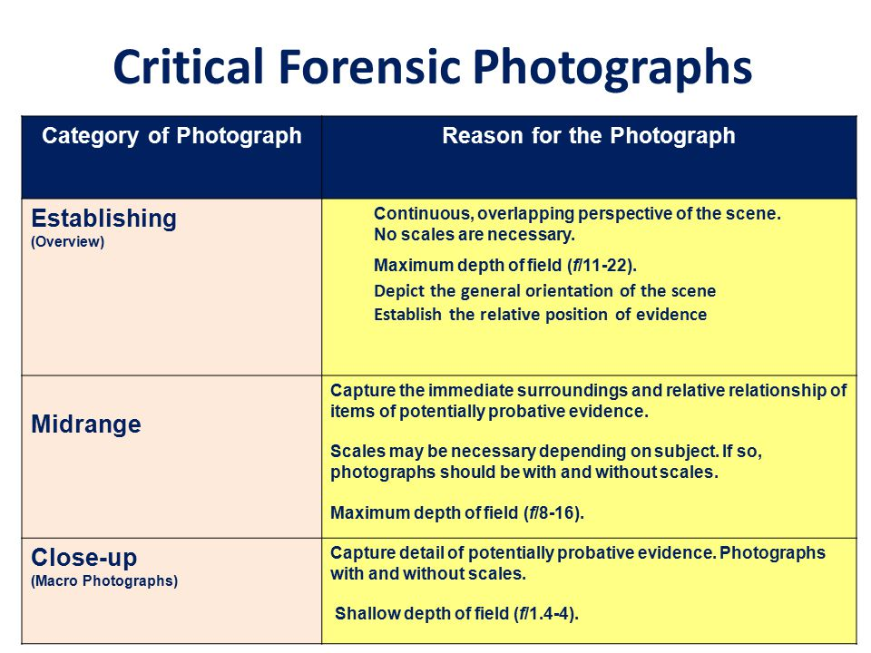 Critical Forensic Photographs