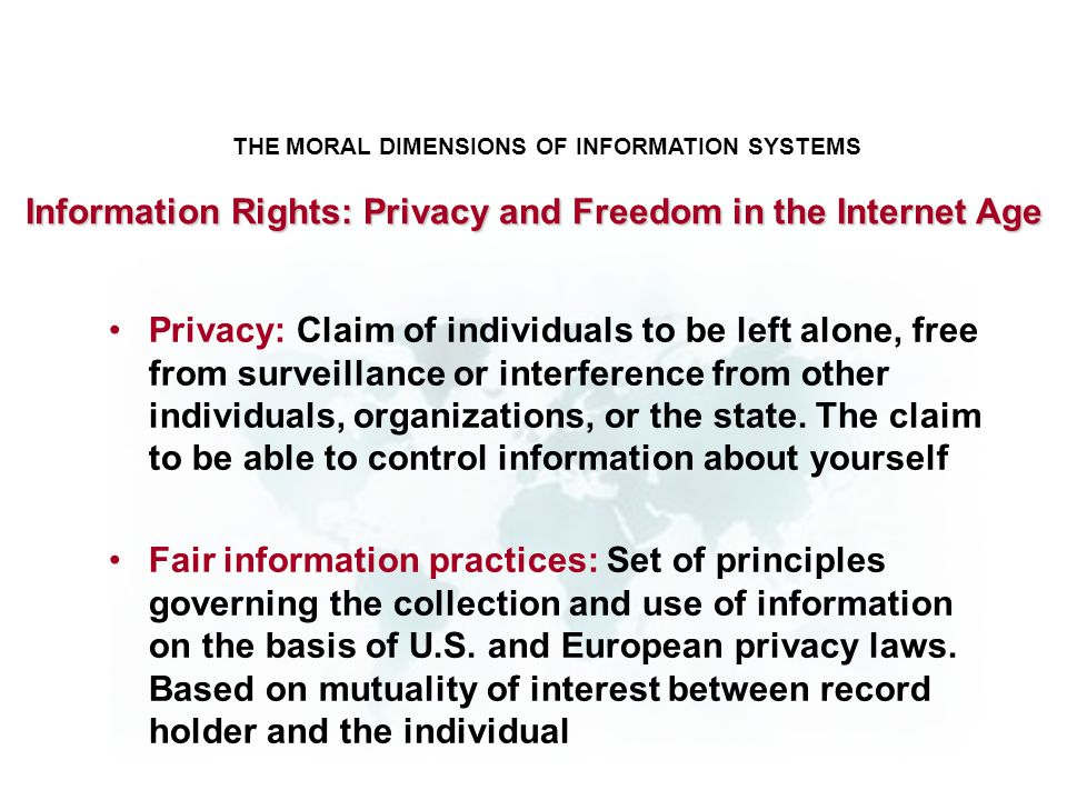 Information Rights: Privacy and Freedom in the Internet Age