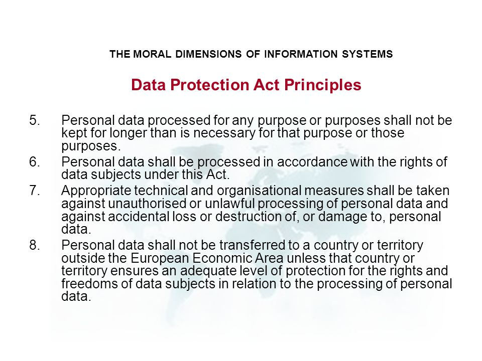 Data Protection Act Principles