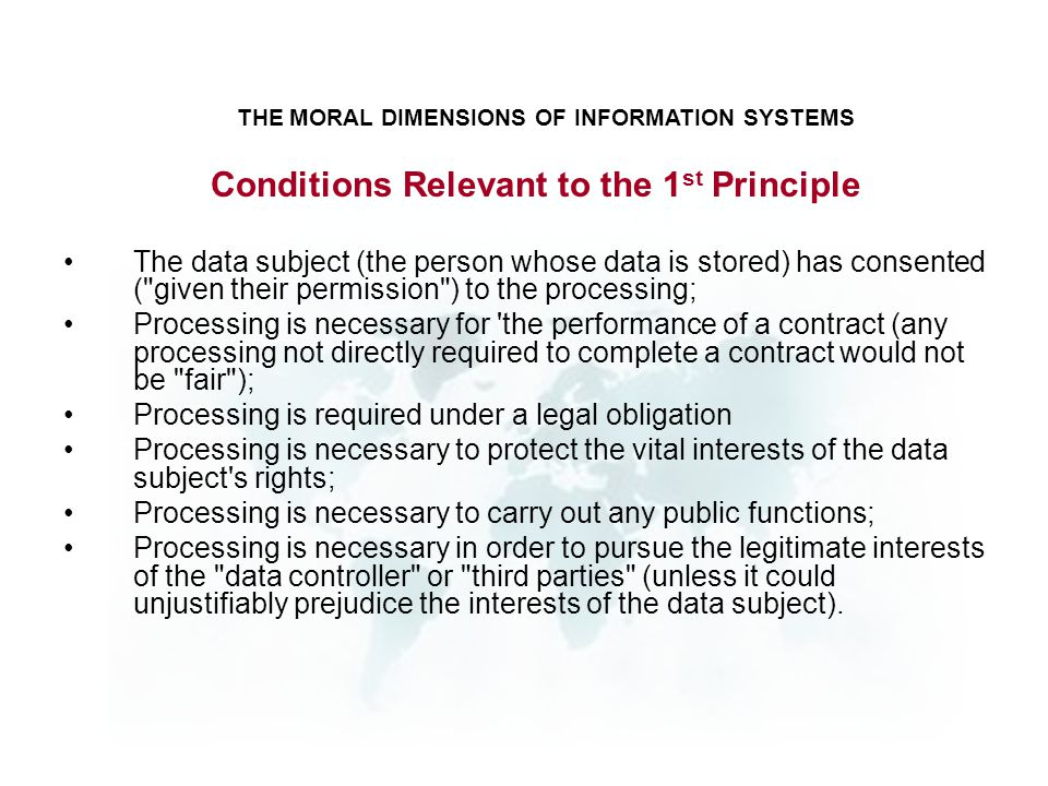 Conditions Relevant to the 1st Principle