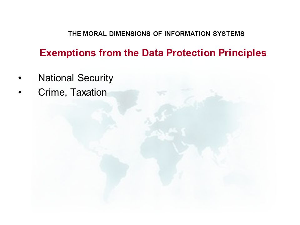 Exemptions from the Data Protection Principles