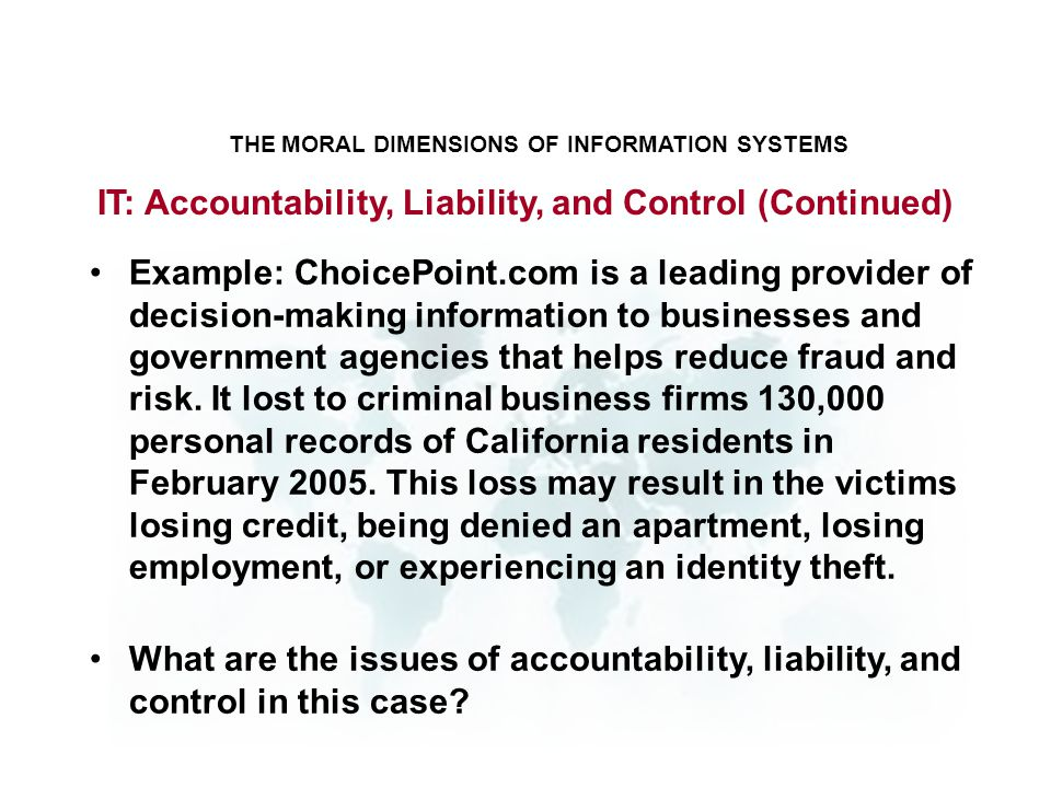 IT: Accountability, Liability, and Control (Continued)