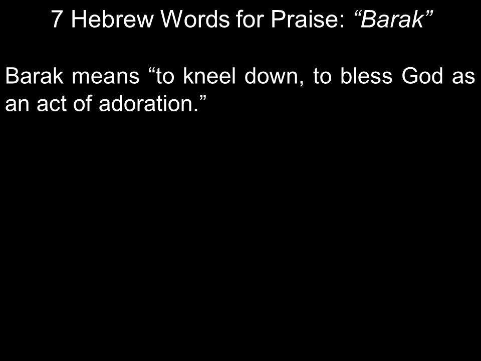 7 Hebrew Words for Praise: Barak