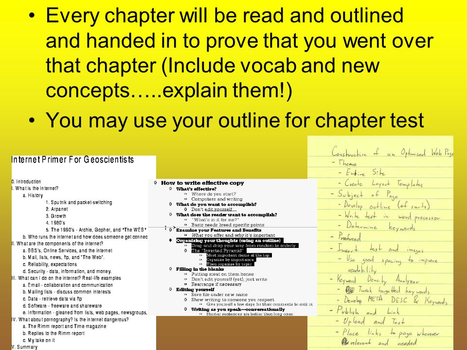 Every chapter will be read and outlined and handed in to prove that you went over that chapter (Include vocab and new concepts…..explain them!)