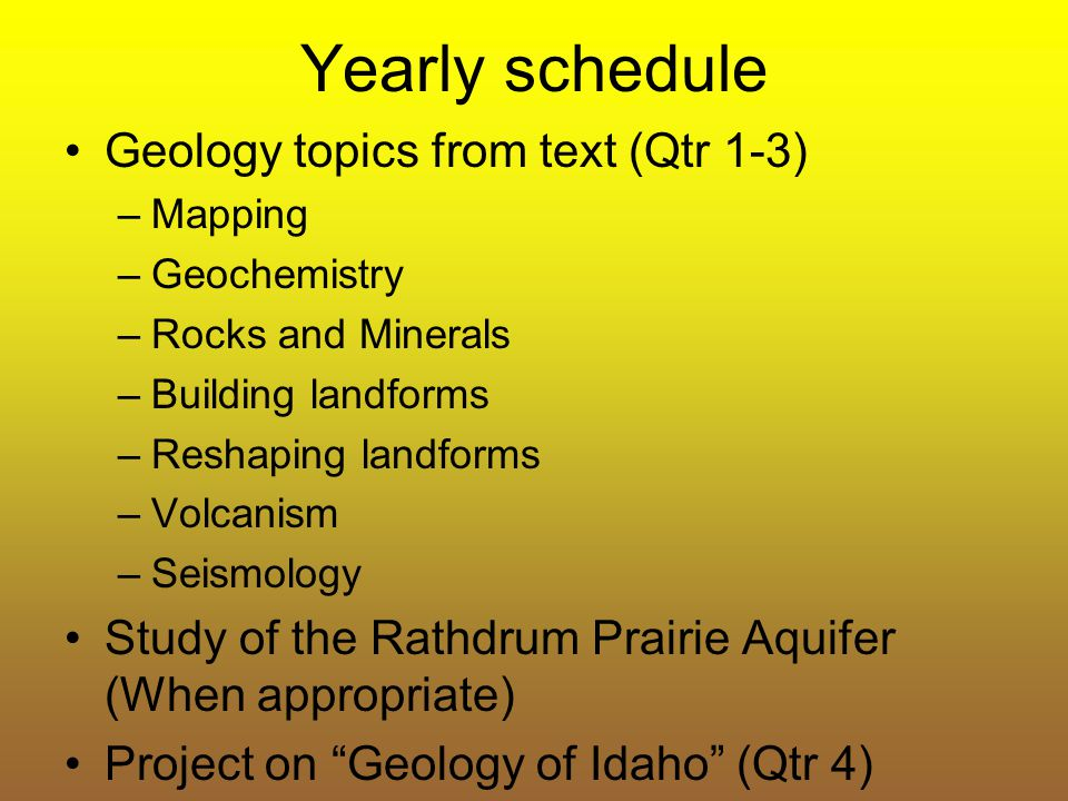 Yearly schedule Geology topics from text (Qtr 1-3)
