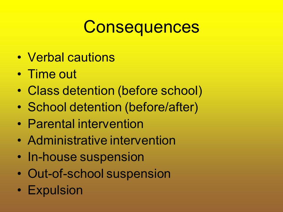Consequences Verbal cautions Time out Class detention (before school)