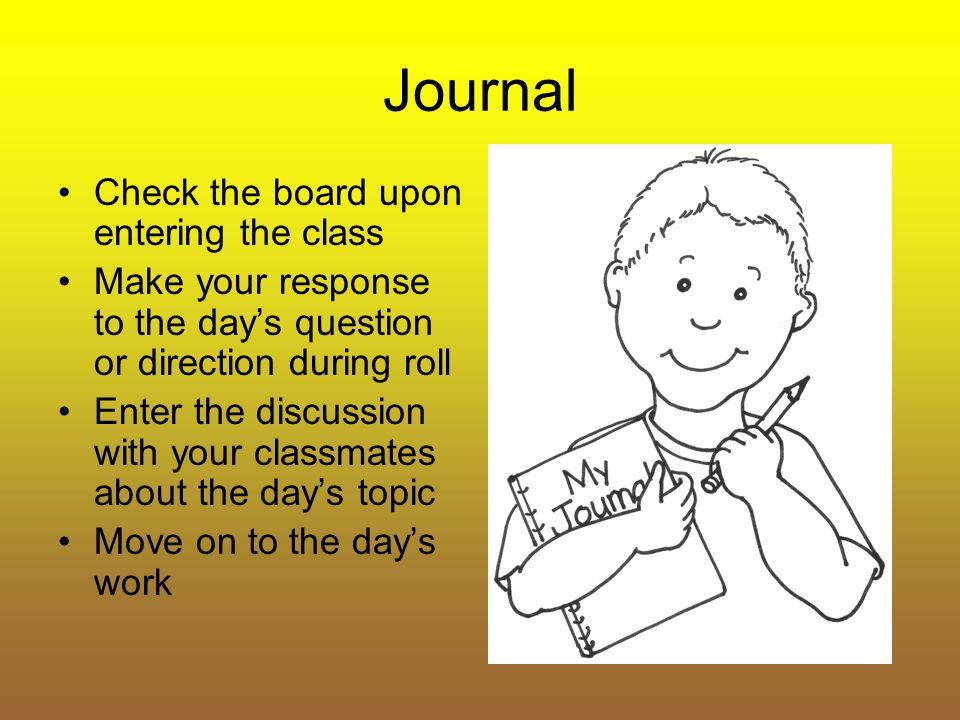 Journal Check the board upon entering the class