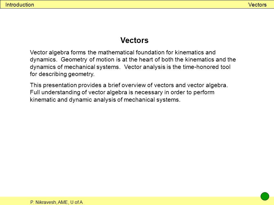Introduction Vectors. Vectors.