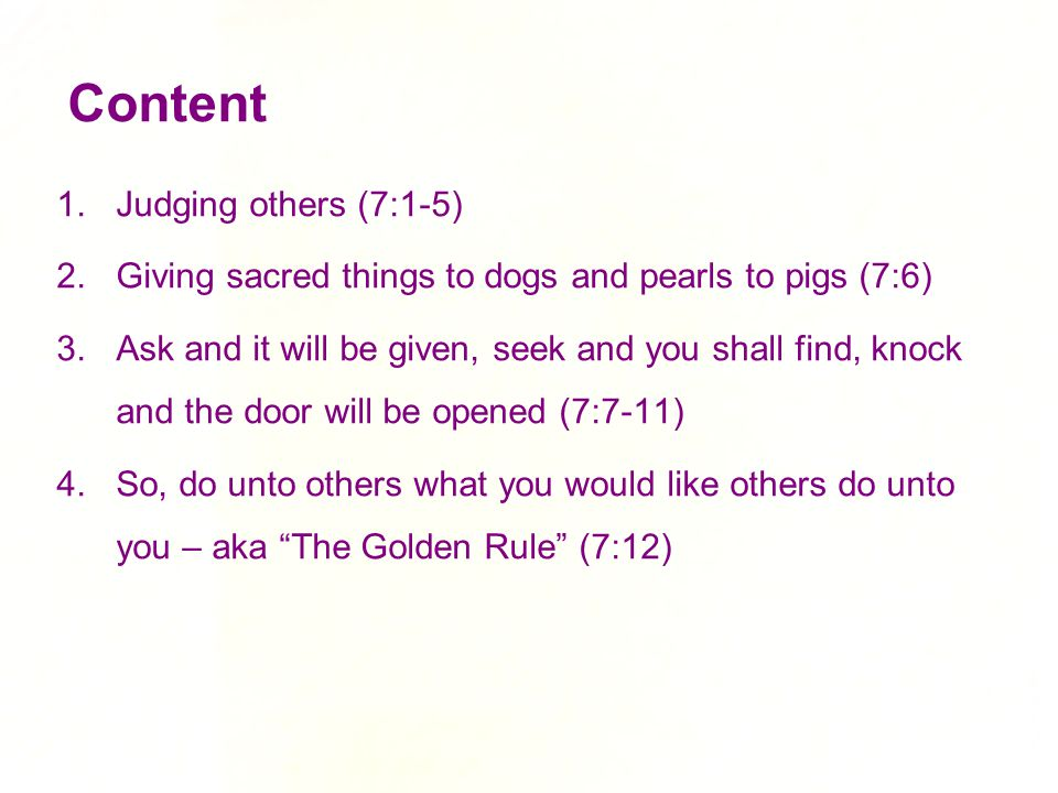 Content Judging others (7:1-5)