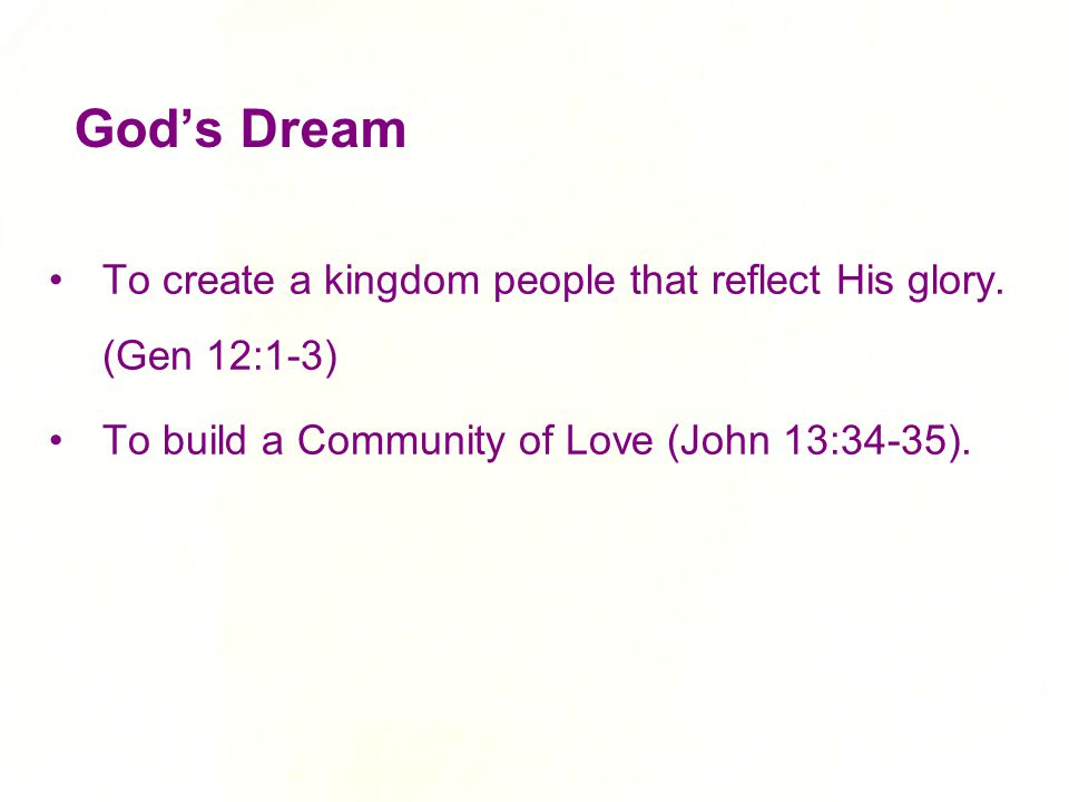 God's Dream To create a kingdom people that reflect His glory.