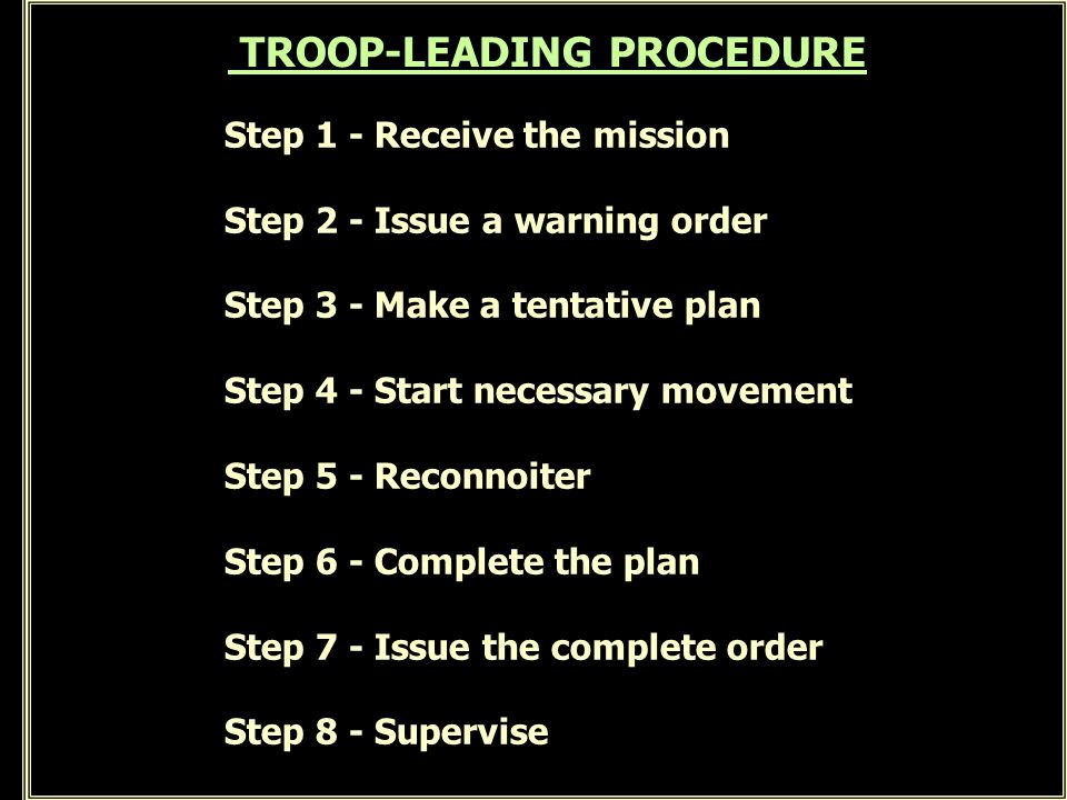 TROOP-LEADING PROCEDURE