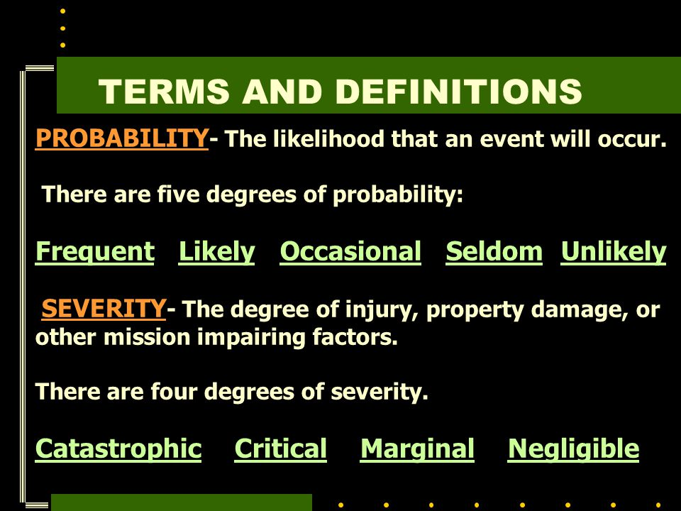 TERMS AND DEFINITIONS Frequent Likely Occasional Seldom Unlikely