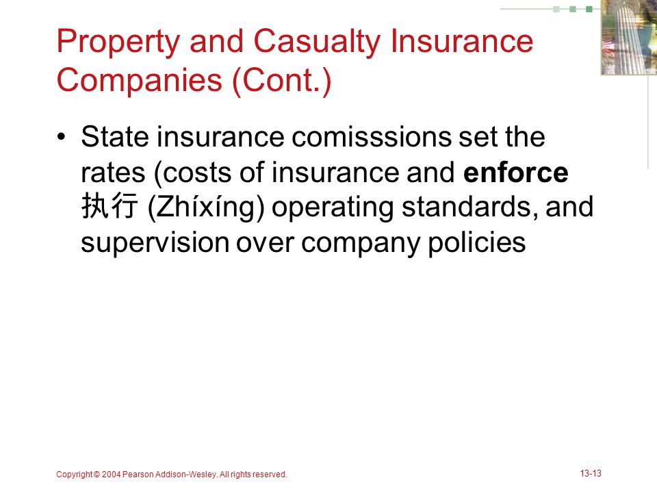 Property and Casualty Insurance Companies (Cont.)