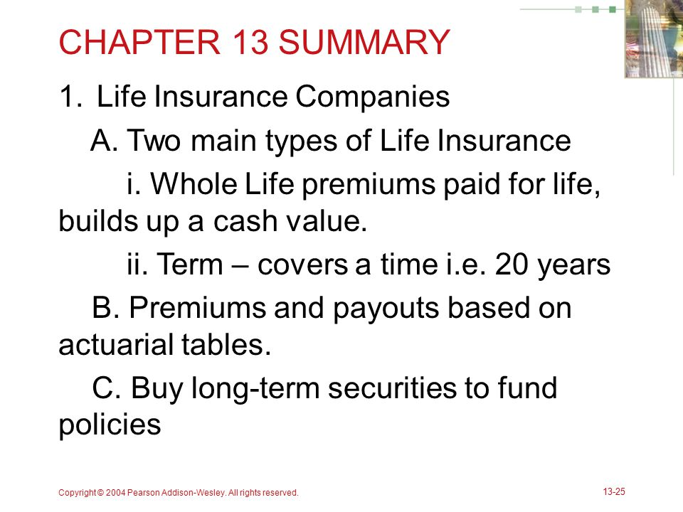 CHAPTER 13 SUMMARY Life Insurance Companies
