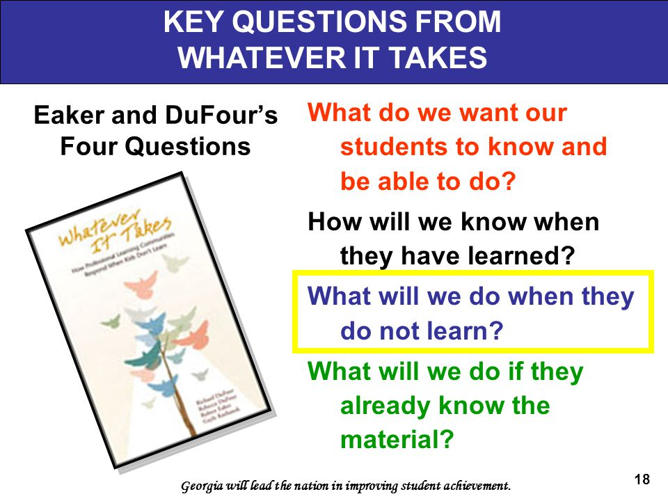Eaker and DuFour's Four Questions