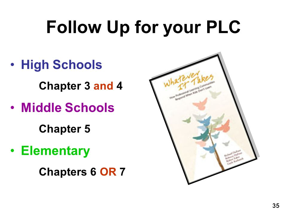 Follow Up for your PLC High Schools Middle Schools Elementary