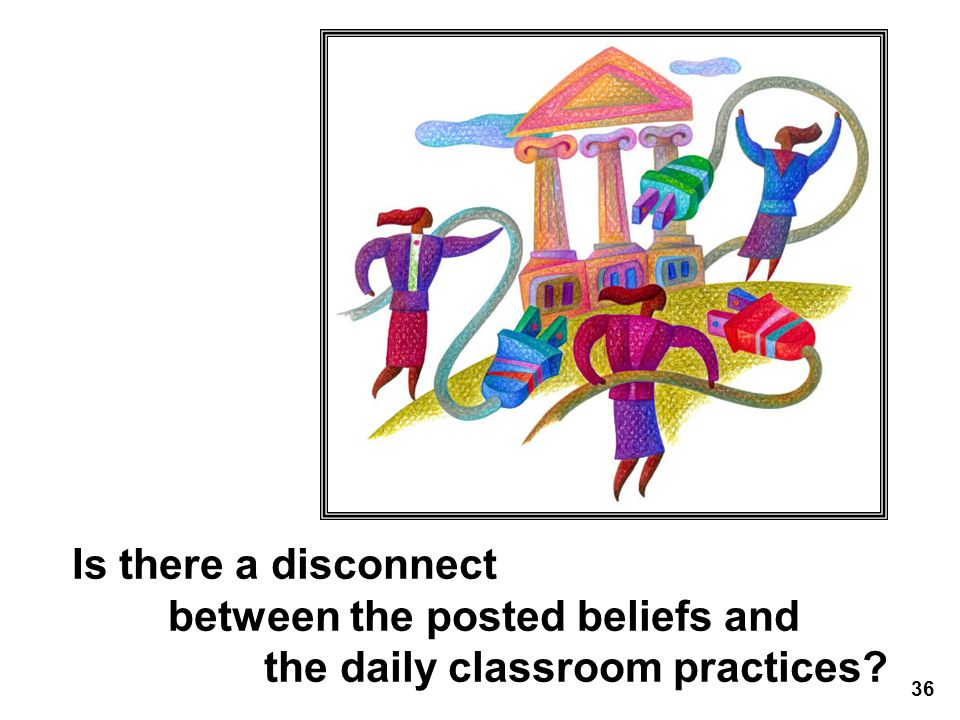 Is there a disconnect between the posted beliefs and the daily classroom practices